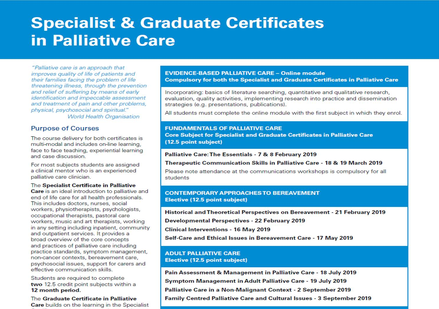 The Centre For Palliative Care Specialist Certificate