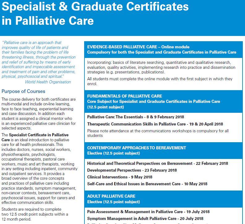 The Centre for Palliative Care - Specialist Certificate